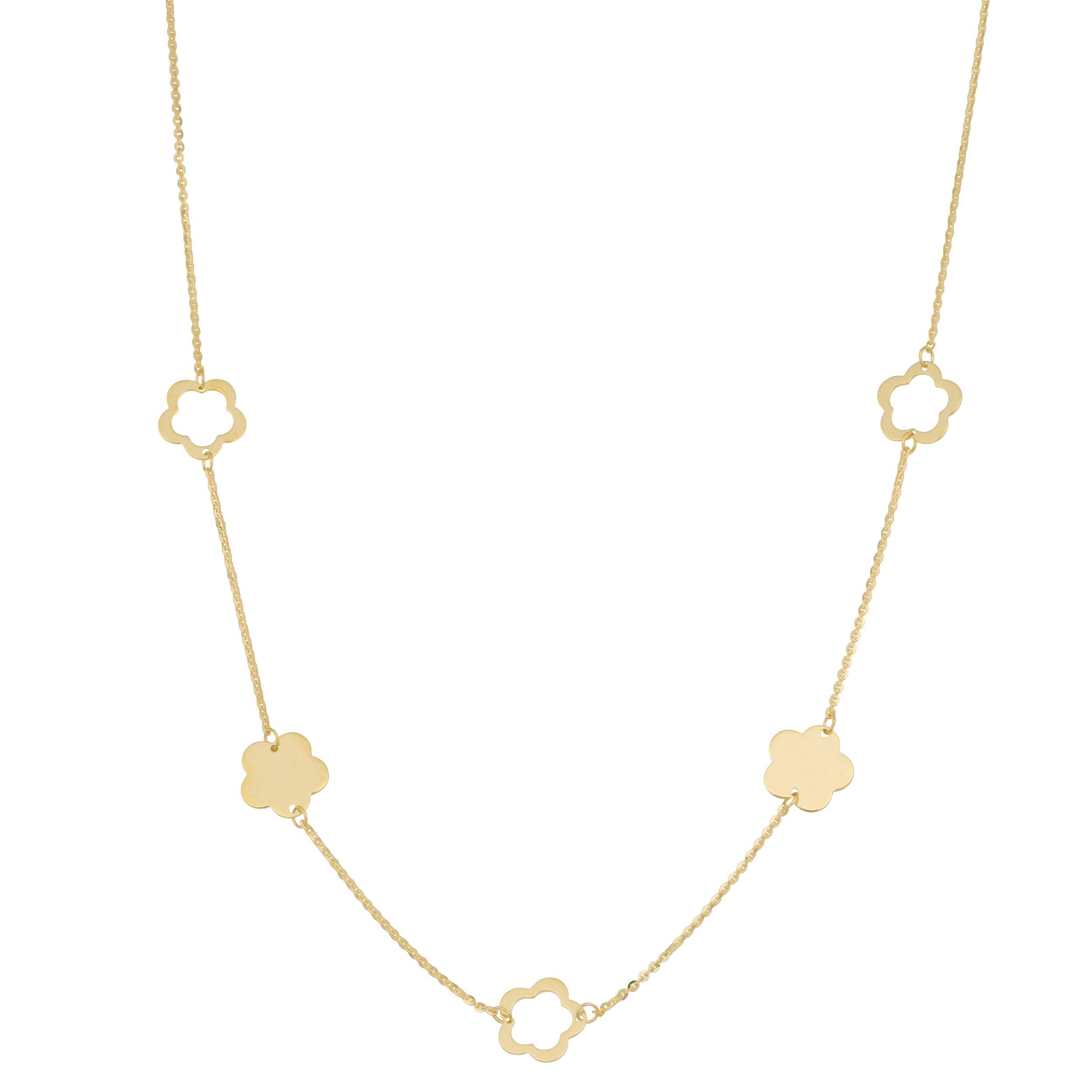 Kooljewelry 14k Yellow Gold Flower Station Necklace (18 inch) by Kooljewelry