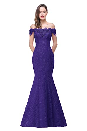 Womens Prom Dresses Lace Off The Shoulder Long Evening Dress ,Purple,2