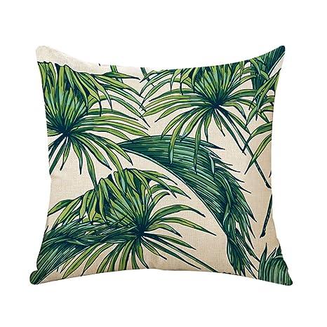 Outflower hojas tropicales plantas flores y pájaros funda de cojín impresos/dormitorio/salón/oficina/coche/Sofá 45 * 45 cm a