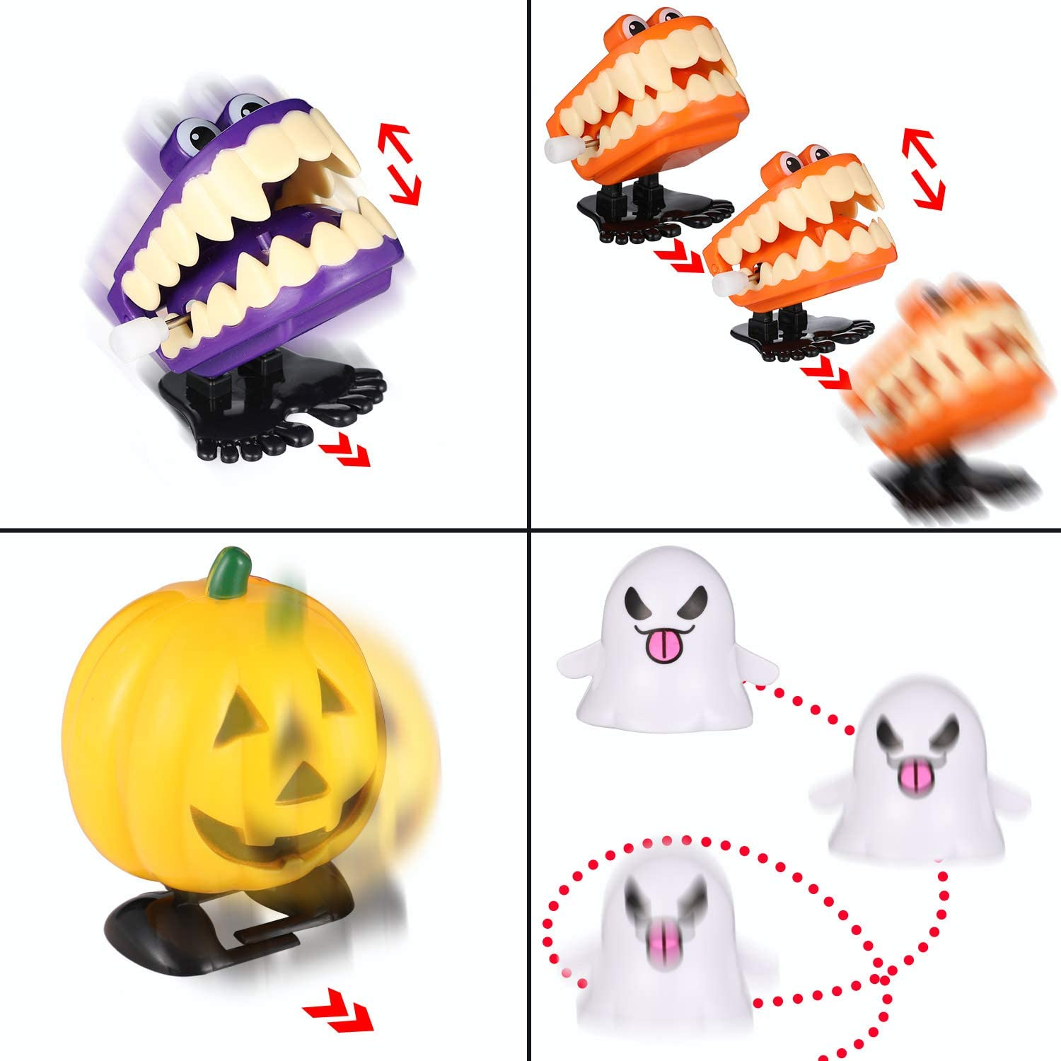 20 Pieces Halloween Wind Up Clockwork Toys Assorted Jumping Toys for Halloween Party Favor Goody Bag Filler Supplies