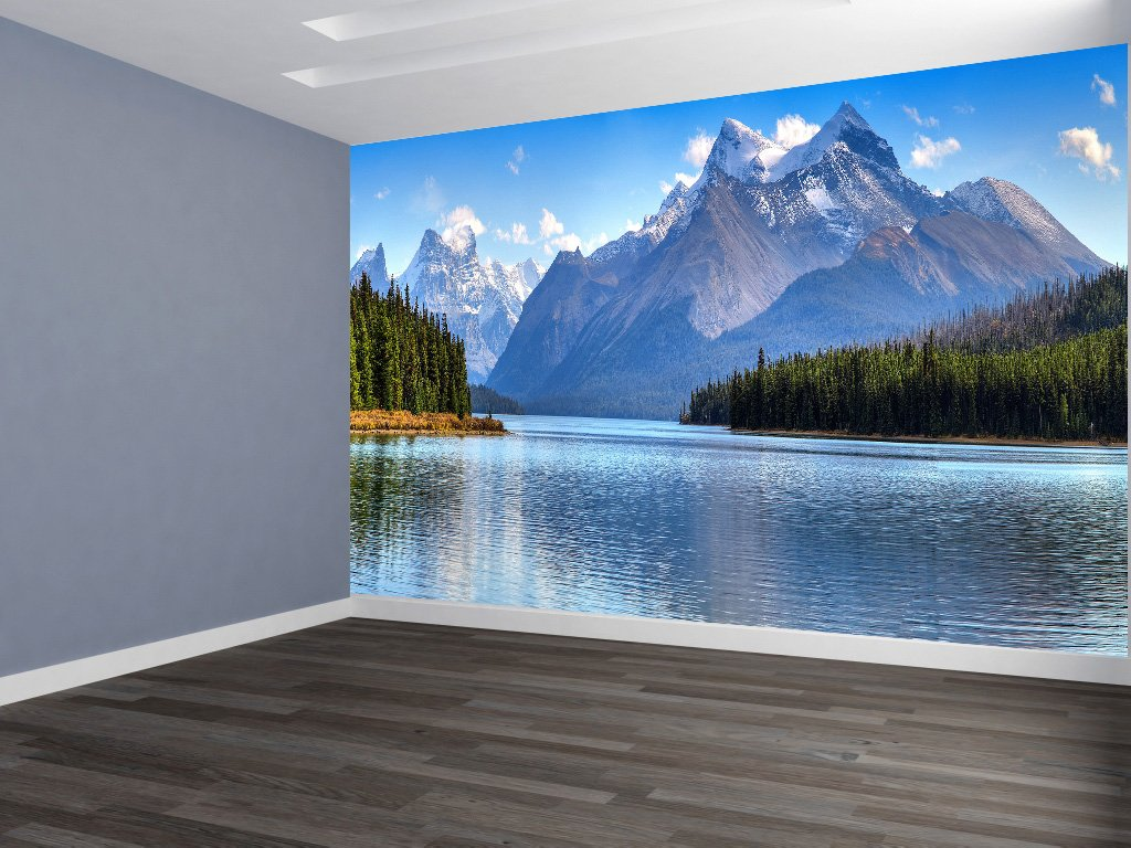 Mountain Scene REMOVABLE WALLPAPER, WALL DECOR, CUSTOM DESIGN, WALL MURAL (144''Wx96''H) by Lets Print Big
