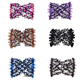 Lovef 6 Pcs Effortless Beauty Stretchable Double Combs Upzing Medium Magic Beaded Double Hair Clips Hair Jewelry Assorted Color and Design (Color: 1#)