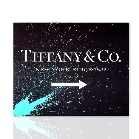 Marco Tiffany fondo negro dibujo azul - cuadro sobre lienzo ...
