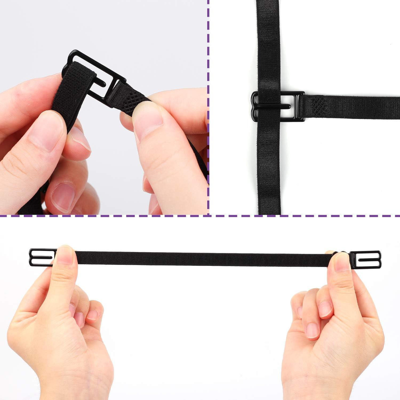 Tugaizi 16Pcs Shoulder Bra Strap No-slip Black Stretchable Adjustable Elastic Clips Holder for Women