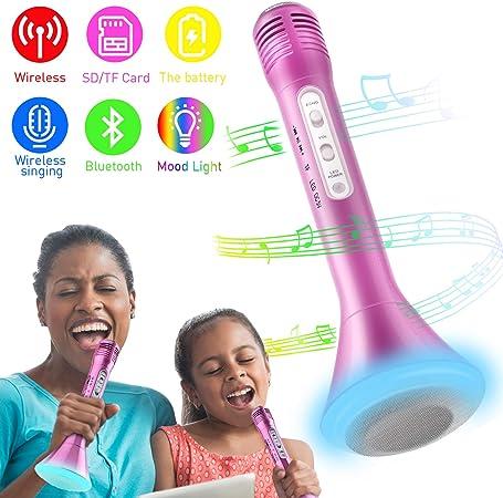 Micrófono Inalámbrico Karaoke, Bluetooth Altavoz Incorporado para ...