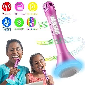 Micrófono Inalámbrico Portátil Bluetooth Altavoz Incorporado para Karaoke Batería de Compatible con PC/iPad/iPhone/Smartphone: Amazon.es: Hogar