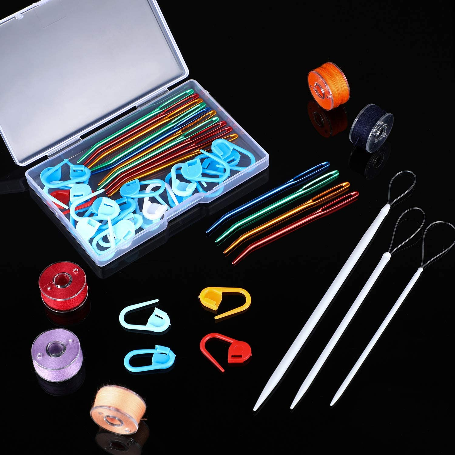 15 Pieces Yarn Needle Set Large Eye Needles Bent Tip Tapestry Needles Wool Needle Sewing Needles with 25 Pieces Plastic Stitch Markers for Weaving Knitting Projects