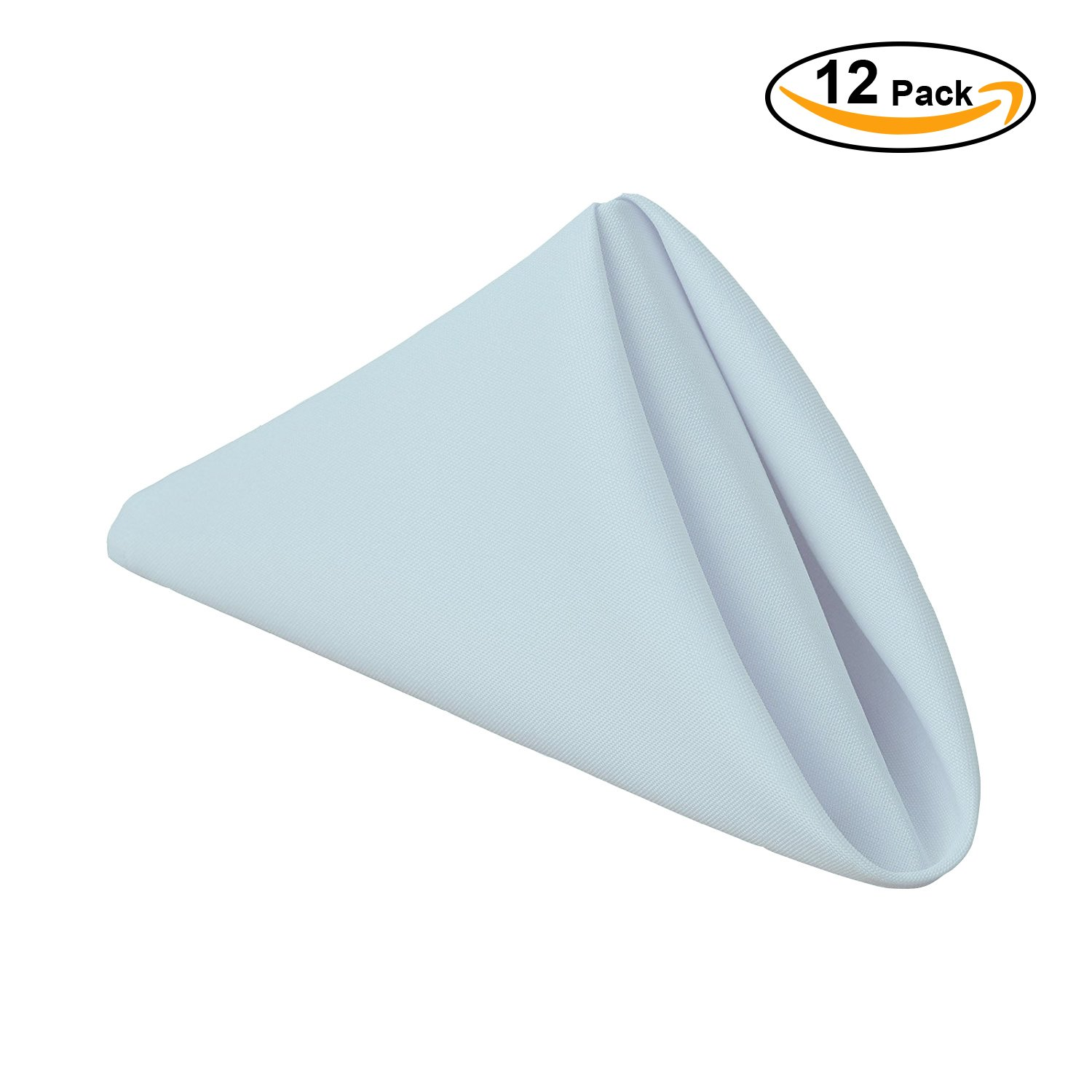 Gee Di Moda Cloth Napkins - 17 x 17 Inch Baby Blue Solid Washable Polyester Dinner Napkins - Set of 12 Napkins with Hemmed Edges - Great for Weddings, Parties, Holiday Dinner & More