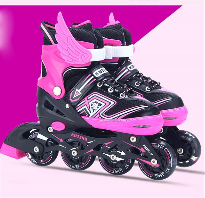 LNYF-OV ローラースケート インラインスケート 調節可能 子供用スケート ファンシーローラースケート ストレート 男性 女性 大人 学生 乗馬 ピンク Medium