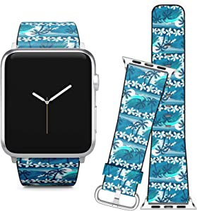 Compatible with Apple Watch (38/40 mm) Series 5, 4, 3, 2, 1 // Leather Replacement Bracelet Strap Wristband + Adapters // Blue Tropical Surfing Palm Trees