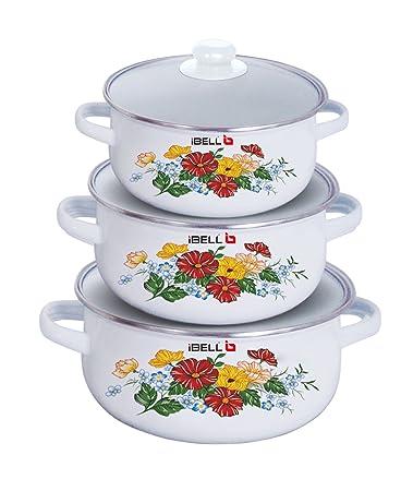 iBELL IBL ECS 3316 (3360) Decorative Enamel Casserole, Set of 3, with Sturdy Glass Lids