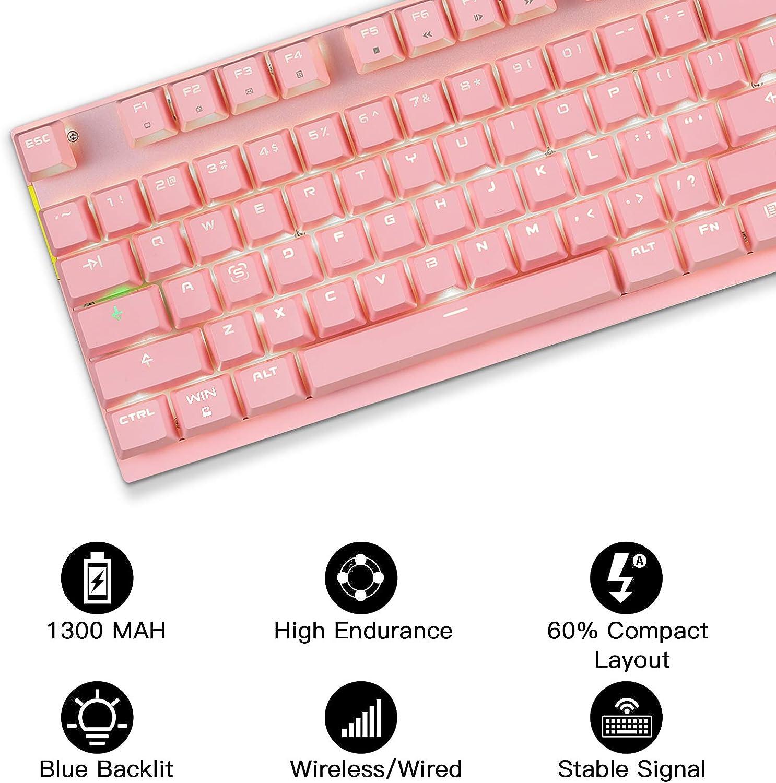 MOTOSPEED - Teclado mecánico inalámbrico de 2,4 GHz con 87 teclas de retroiluminación LED e interruptores rojos tipo C Gaming teclado para juegos y ...