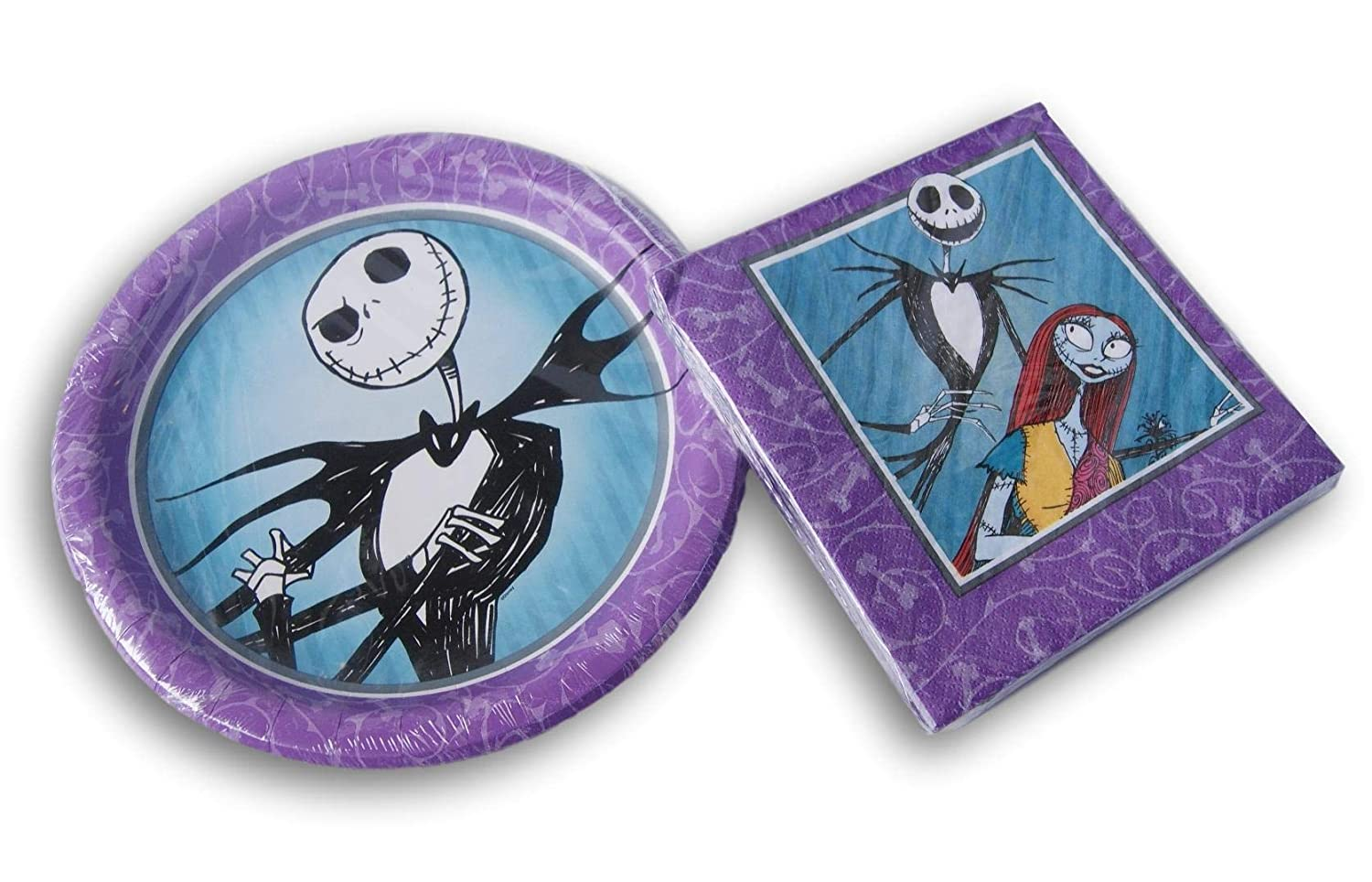 Nightmare Before Christmas Jack Sally Party Bundle - Plates Napkins 8 16