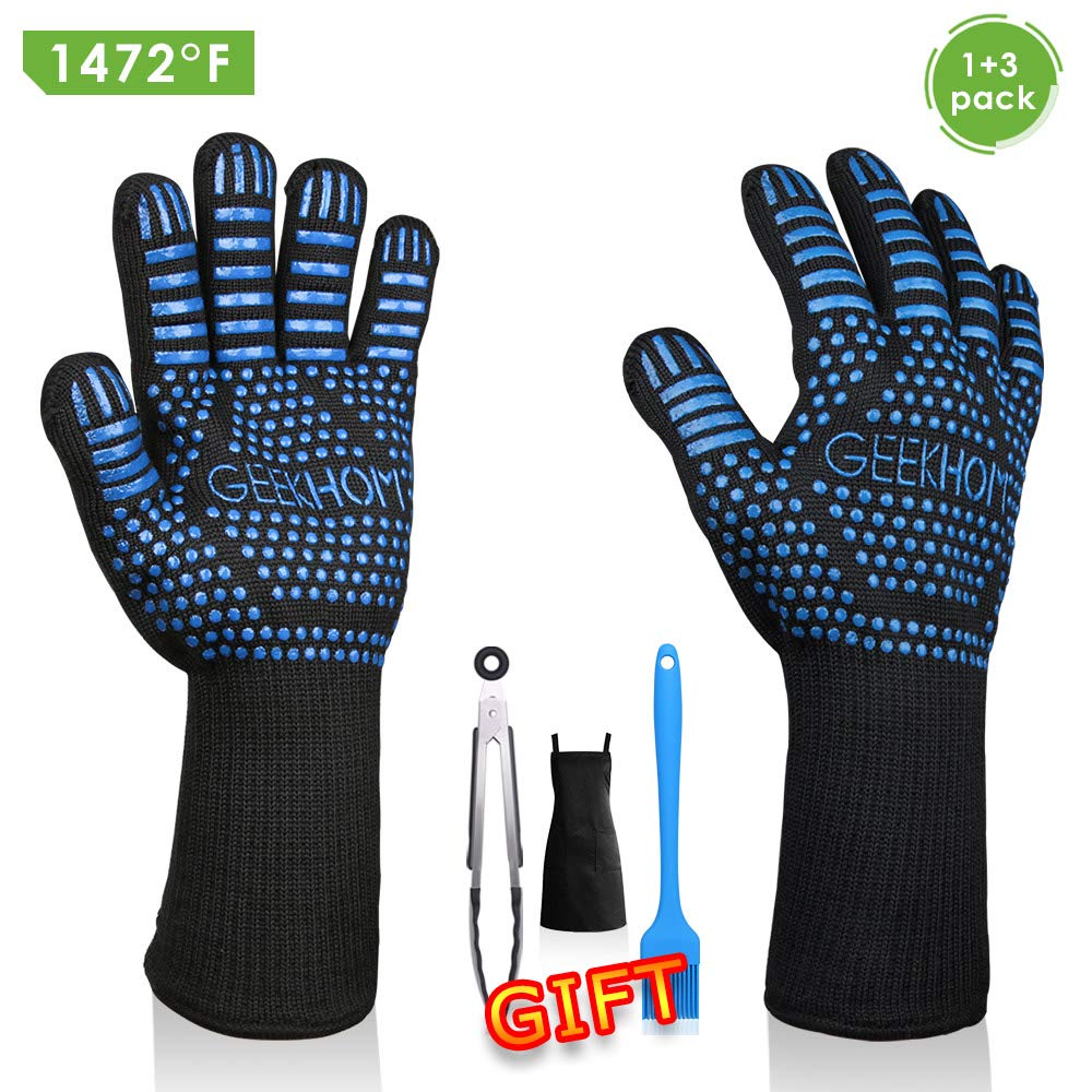 GEEKHOM Grill Gloves 1472℉ Heat Resistant BBQ Grilling Gloves EN407 Certified 13 Inch Oven Mitts 4-in-1 Barbecue Tools for Cooking Baking Outdoor Camping and Weber Char-Broil Cuisinart Smokers