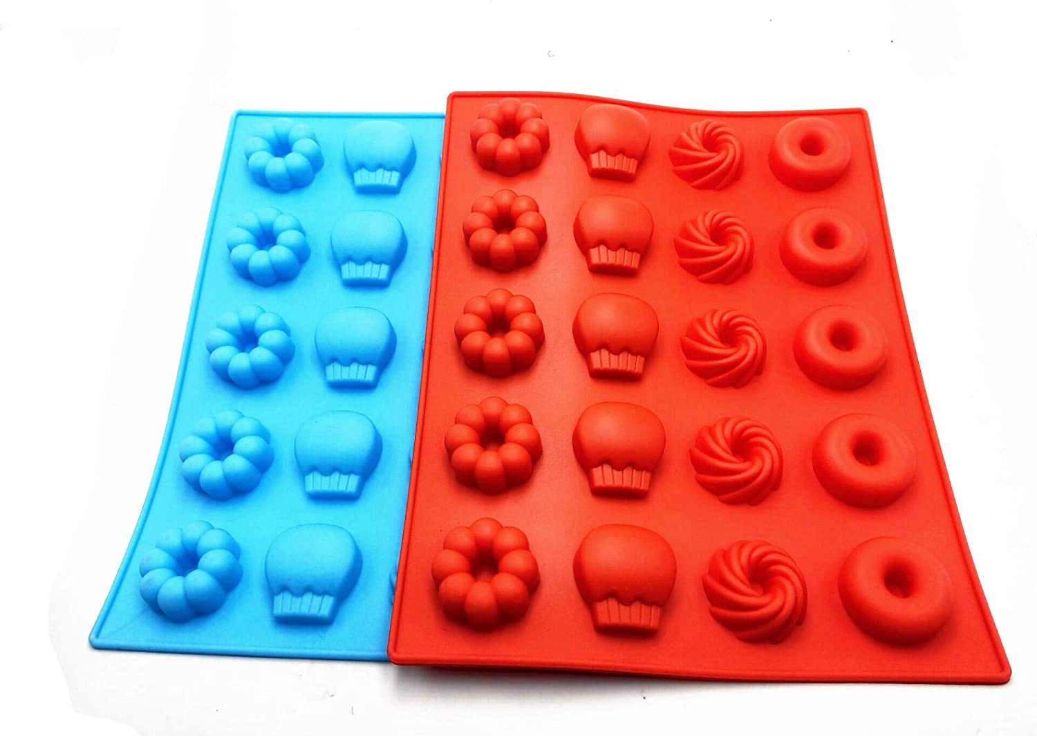 BLS Edible silica gel GummyBear Candy Molds Silicone - Chocolate Gummy Molds with 2 Droppers Nonstick Food Grade Silicone Pack of 2 (Red and blue big 20)