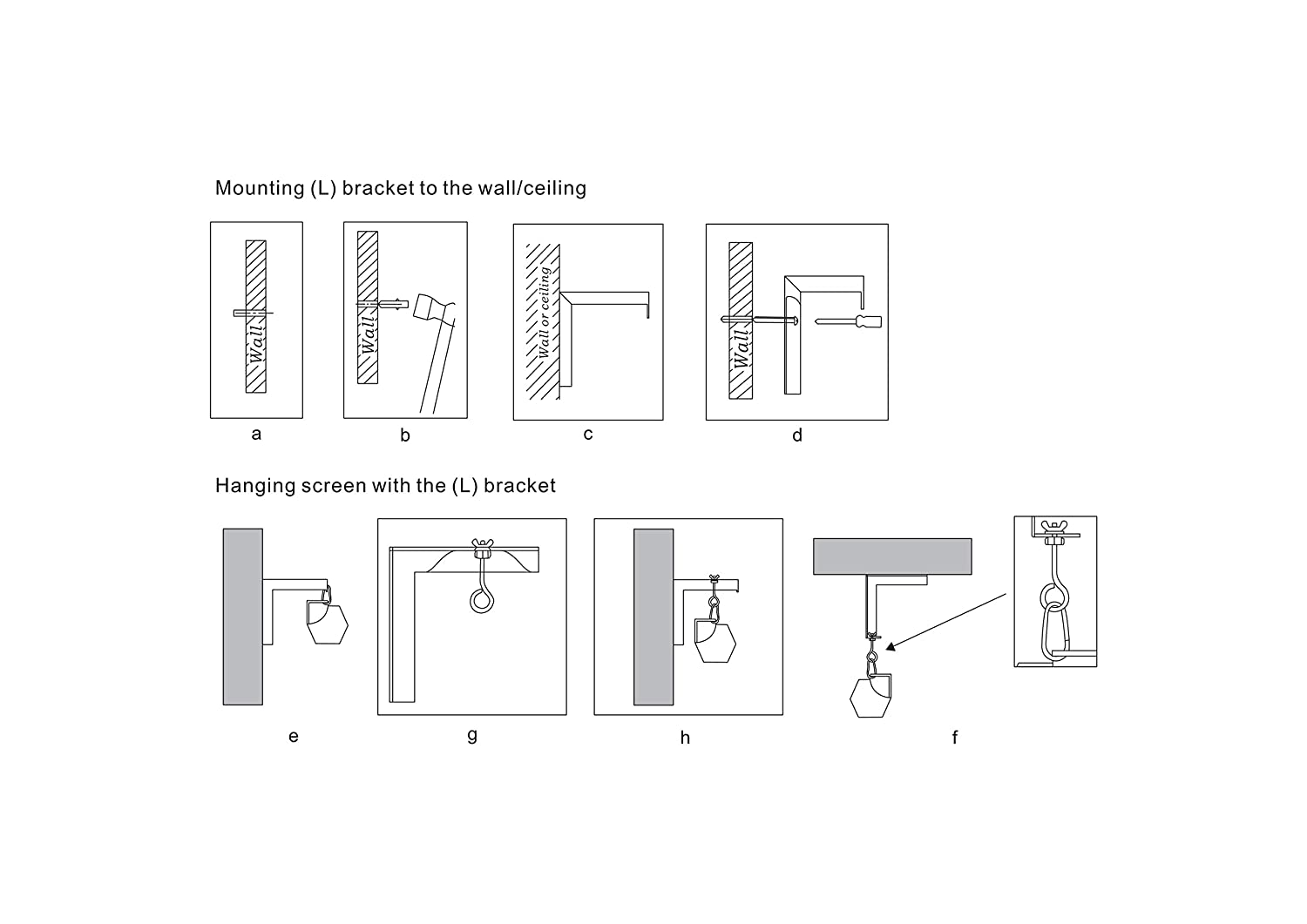 Eapele Universal Wall Hanging 6 Adjustable L Bracket Mount Plate Schematic Engineering Diagram Hook Kit For Projector Screens