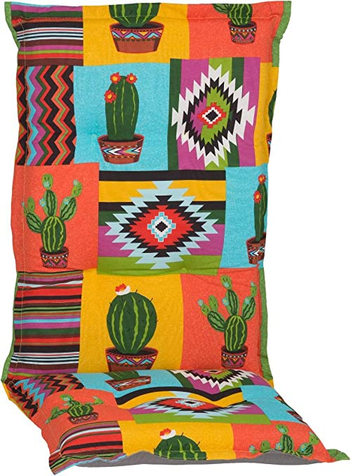 Beo HL Nizza BE912 - Cojín para Silla de jardín con Respaldo Alto, diseño de México, Color Naranja y Amarillo