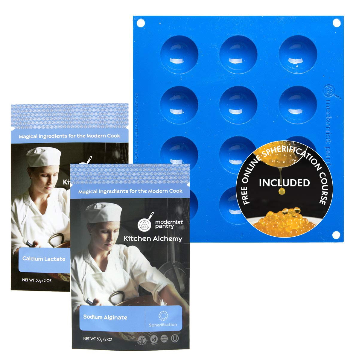 Reverse Spherification Kit [Molecular Gastronomy] ⊘ Non-GMO ❤ Gluten-Free ☮ Vegan ✡ OU Kosher Certified Ingredients