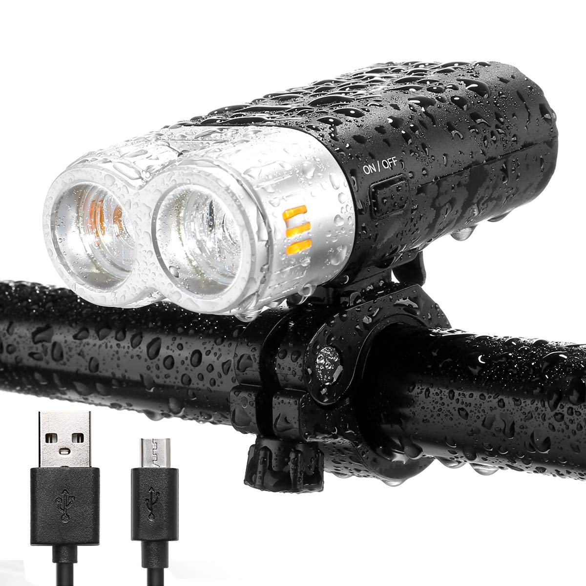 LE USB Rechargeable LED Bike Headlight, Super Bright CREE LED, 500lm, Waterproof Front Light, 4 Lighting Modes Bicycle Light for Road, Cycling and More