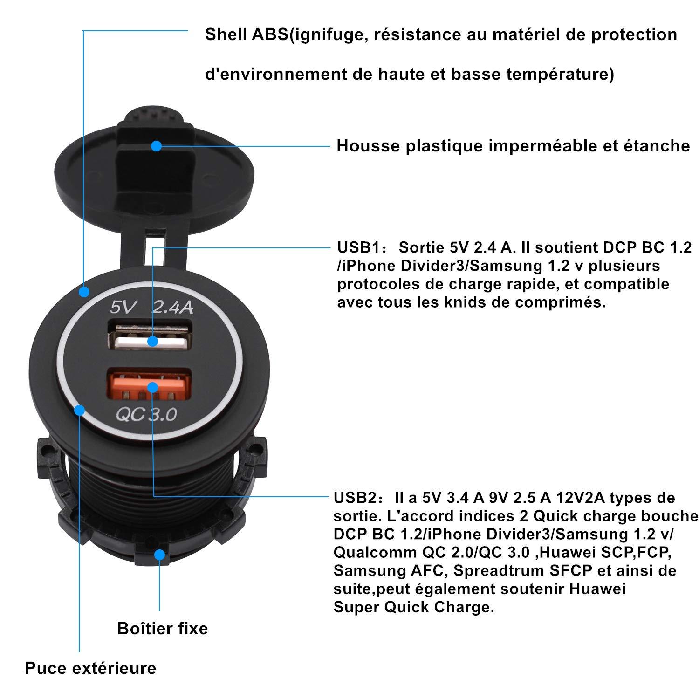 UTV Moto Bateaux,Marine Bleu Camion SUV Chargeur Quick Charge 3.0 12V//24V avec LED,IP66 Imperm/éable pour Voitures ShinePick Prise USB pour Voiture