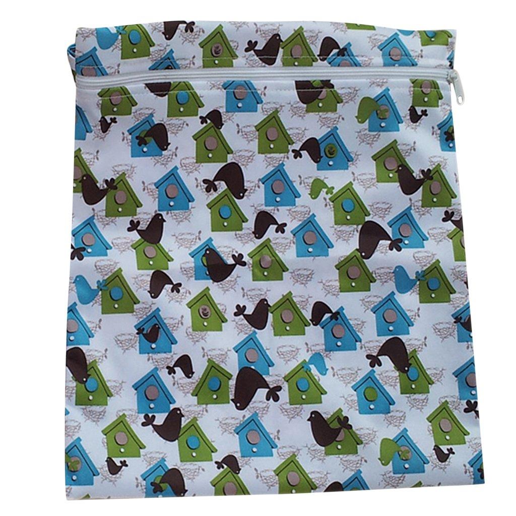 Generic - Infantil del bebé impermeable de la cremallera del paño reutilizable bolsa de pañales (bird y patrón house) SODIAL(R)