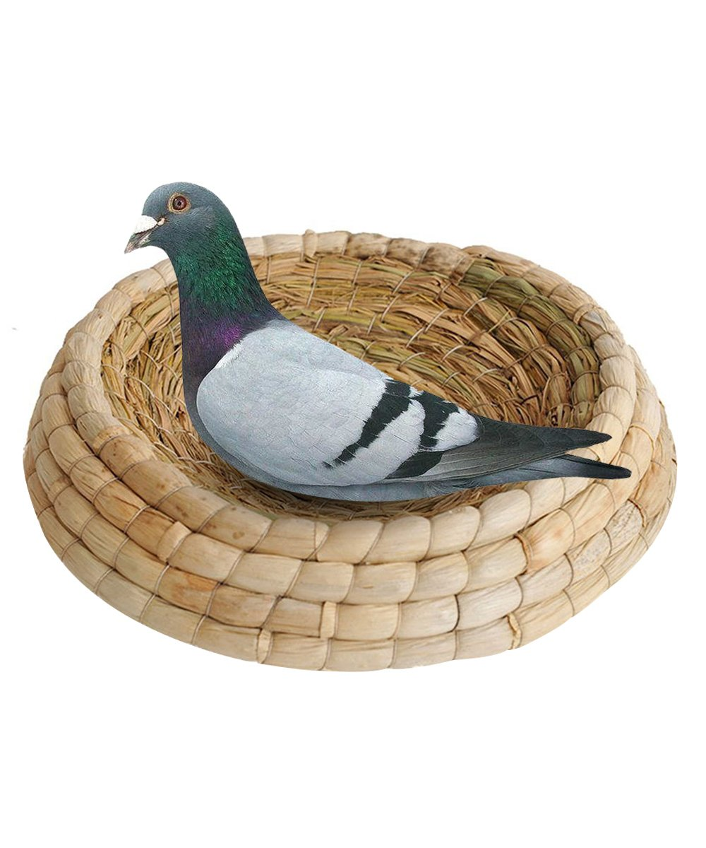 loveone(TM) Handwoven Straw Birds Nest Round Bottom Grass Pigeon Nest Parrot Cage Incubation Bed for Parakeet/ Macaw/ African Greys/ Budgies/ Dove/ Hamster/ Gerbil/ Chinchillas (Thick Bottom)