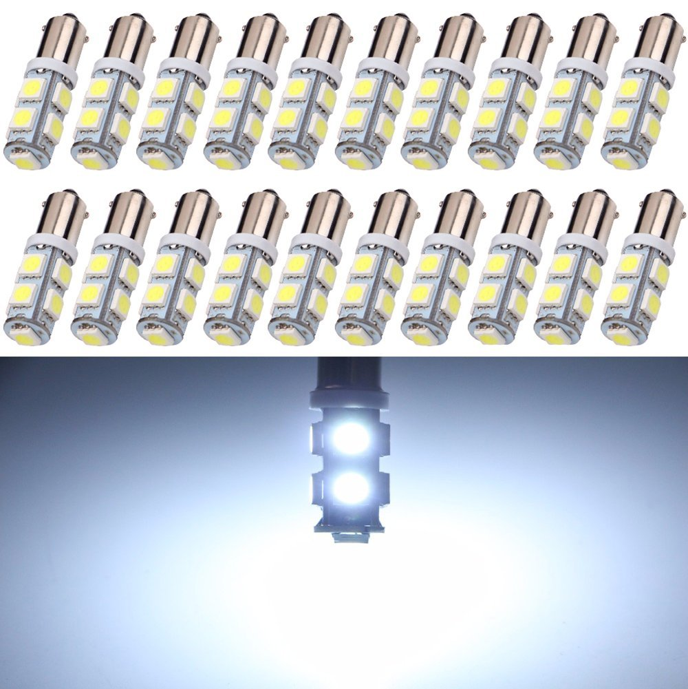 EverBright 20-Pack White 150lums BA9 BA9S 53 57 1895 64111 T4W 5050 9-SMD LED Replacement for Car License Plate Light Bulb Side Door Courtesy Door Lamp Interior Map Lights DC12V (White) YMBT0018US