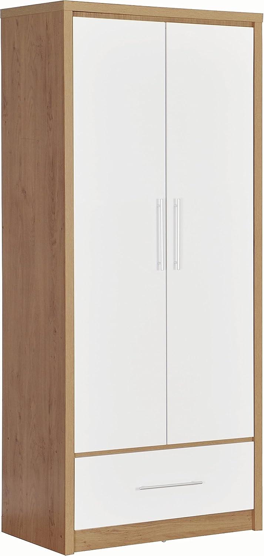 Seville Modern 2 Door Wardrobe Storage Light Oak Veneer//White Gloss Home Bedroom