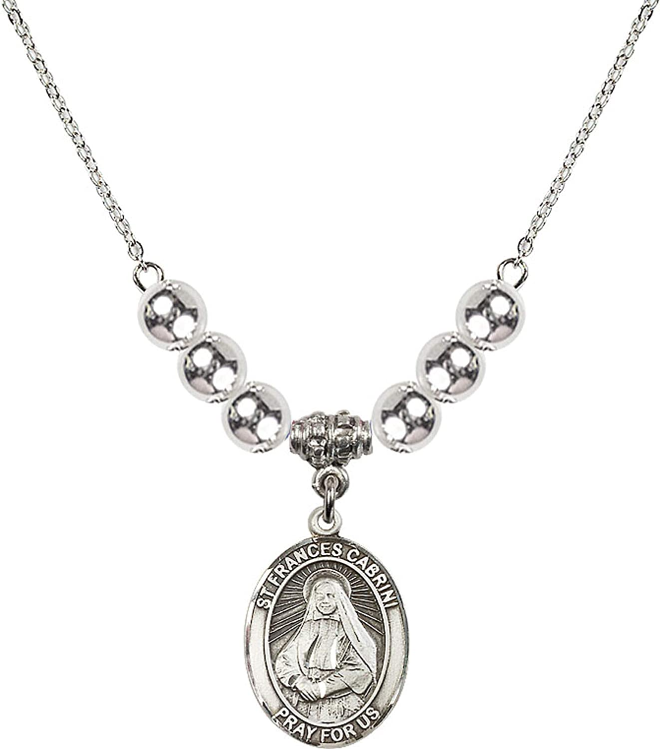 Bonyak Jewelry 18 Inch Rhodium Plated Necklace w// 6mm Sterling Silver Beads and Saint Frances Cabrini Charm