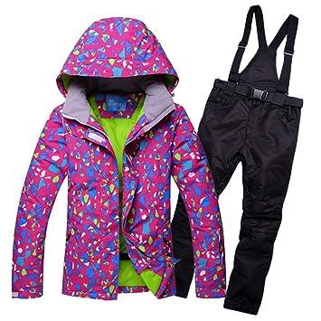 Zjsjacket Traje de Esqui Winter Snow Weather para Mujer Trajes de esquí Impermeables para Mujer, Chaquetas de Nieve y Pantalones Conjuntos Espesar Ropa de ...