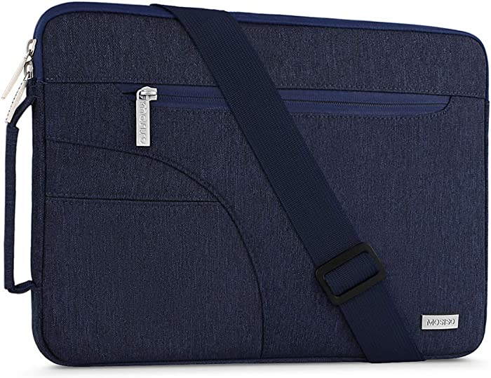 MOSISO Laptop Shoulder Bag Compatible with 13-13.3 inch MacBook Pro, MacBook Air, Notebook Computer, Polyester Briefcase Sleeve with Side Handle, Navy Blue