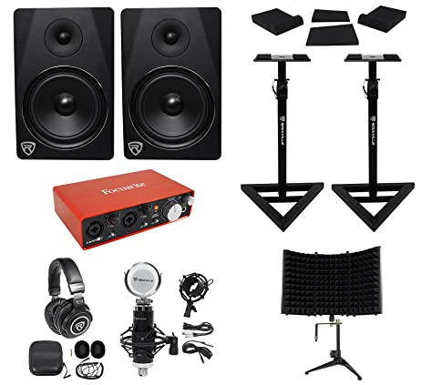 Focusrite Package w/Interface+Studio Monitors+Microphone+Headphones+Stands+Pads