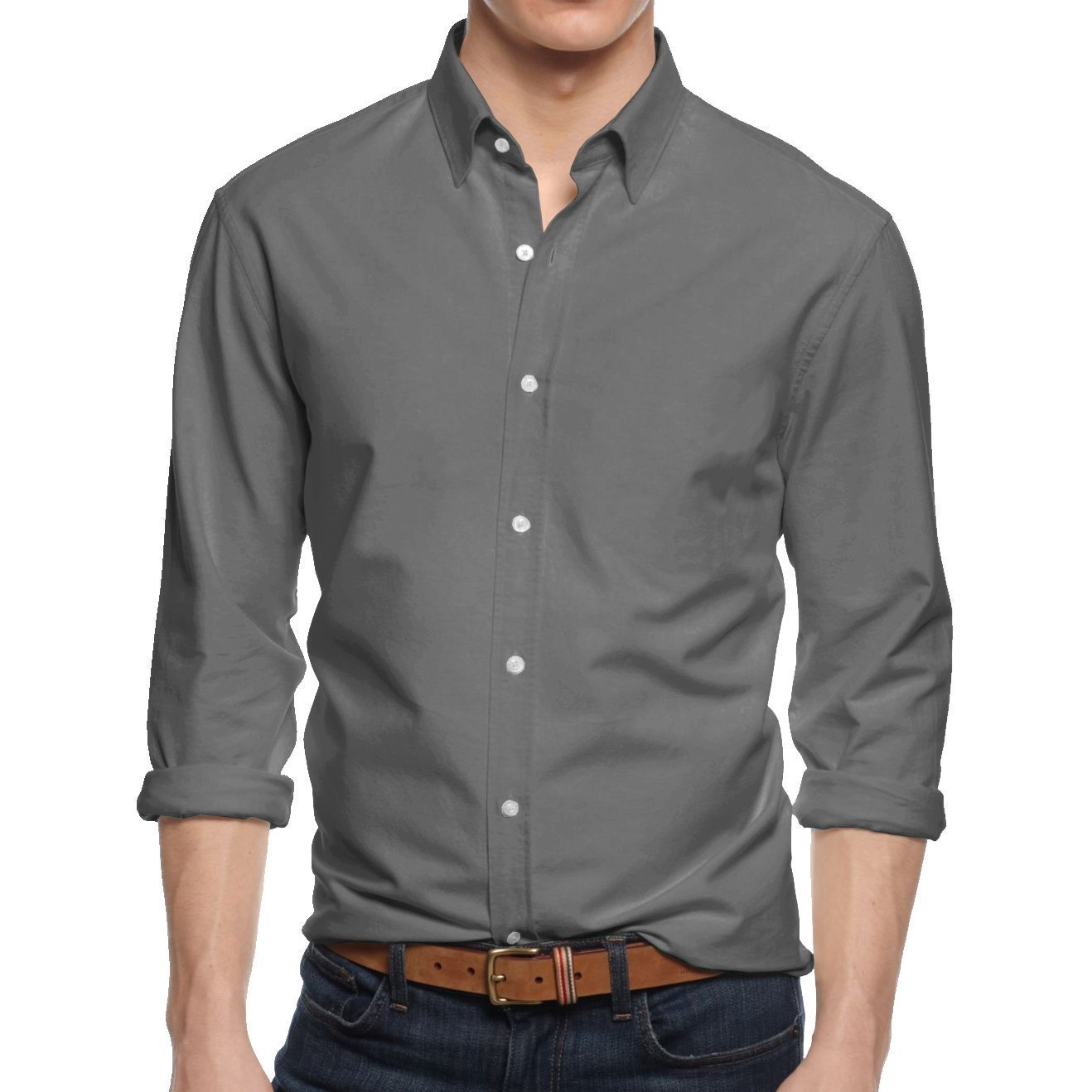 HB Men's Slim Fit Button Down Casual Long Sleeve Dress Shirt  - X-Large / 17-17.5 - Gray