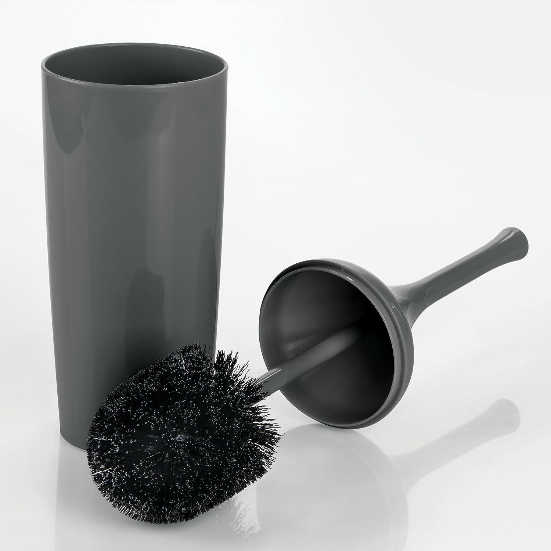 mDesign Portaescobillas con diseño elegante – Escobilla del wáter y soporte de plástico resistente – Escobillero de pie delgado para el baño principal o aseo – gris antracita MetroDecor