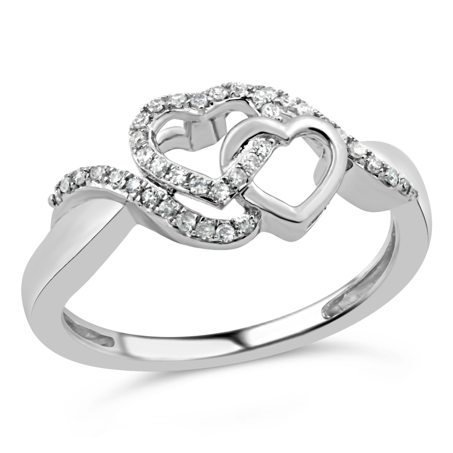 Diamond Promise Ring in Rhodium Plated Sterling Silver 1/10 cttw