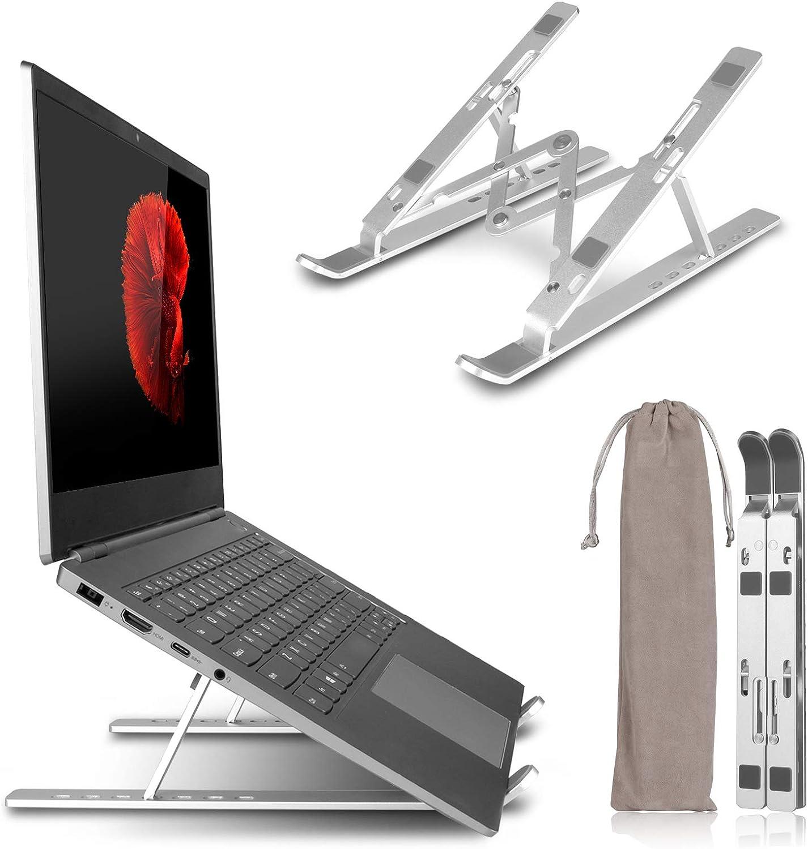 "Adjustable Laptop Stand for Desk, Sendowtek Laptop Holder Riser Computer Tablet Stand, Aluminum Ergonomic Foldable Portable Holder Compatible with MacBook,iPad, Dell, Lenovo More 10-15.6"" (Silver)"