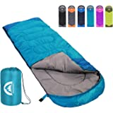 Sleeping Bag 3 Seasons (Summer, Spring, Fall) Warm & Cool Weather - Lightweight,Waterproof Indoor & Outdoor Use for Kids, Tee