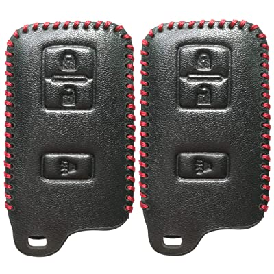 2Pcs Coolbestda Smart Leather Key Fob Cover Case Keyless Entry Holder Skin Jacket for 2020 2020 2016 Toyota Tacoma Land Cruise Prius V RAV4 HYQ14FBA: Automotive