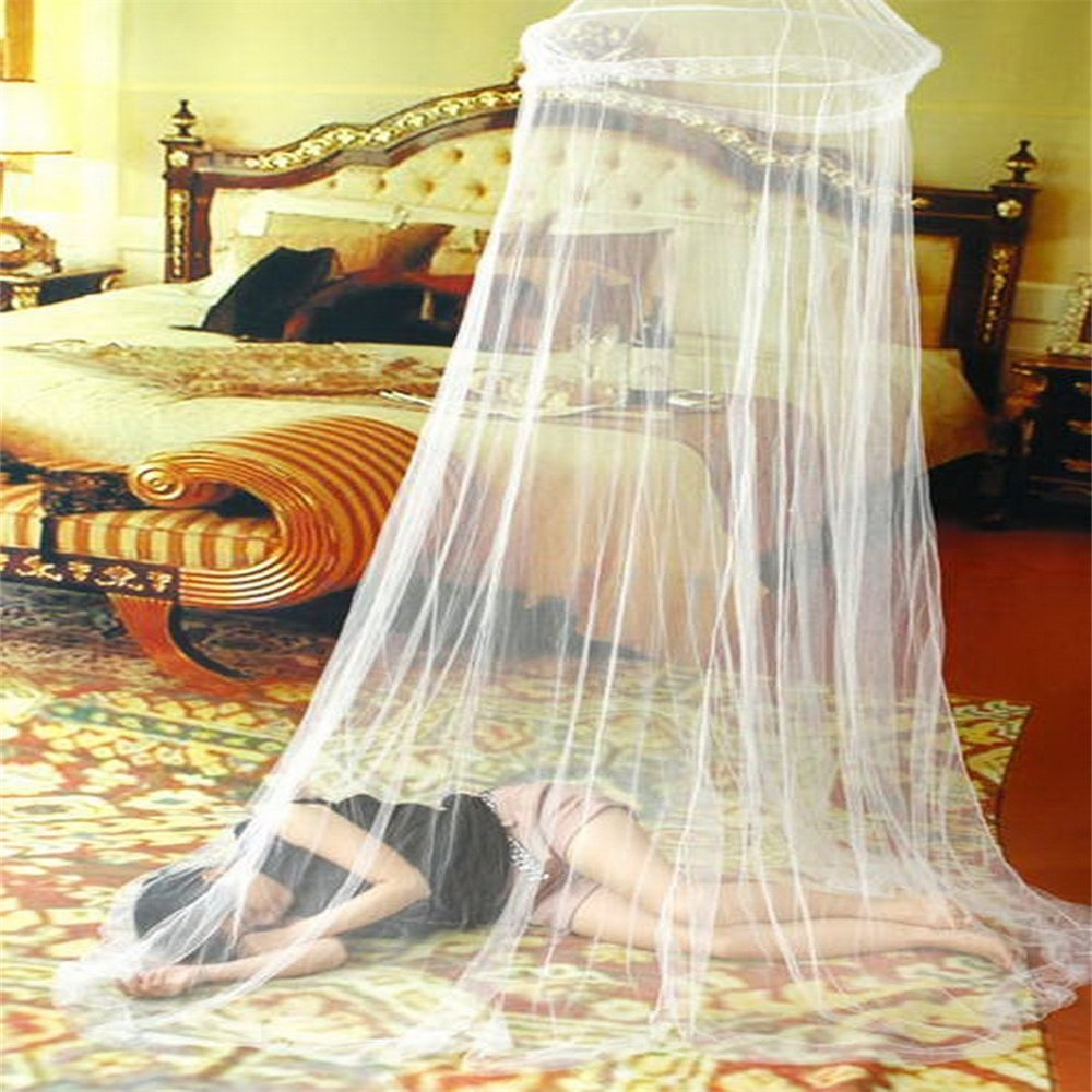Yiyaqeanca Outdoor Summer Round Lace Insect Bed Canopy Netting Curtain Polyester Mesh Fabric Home Textile Elegant Hung Dome Mosquito Net Elegant Lace Bed Canopy
