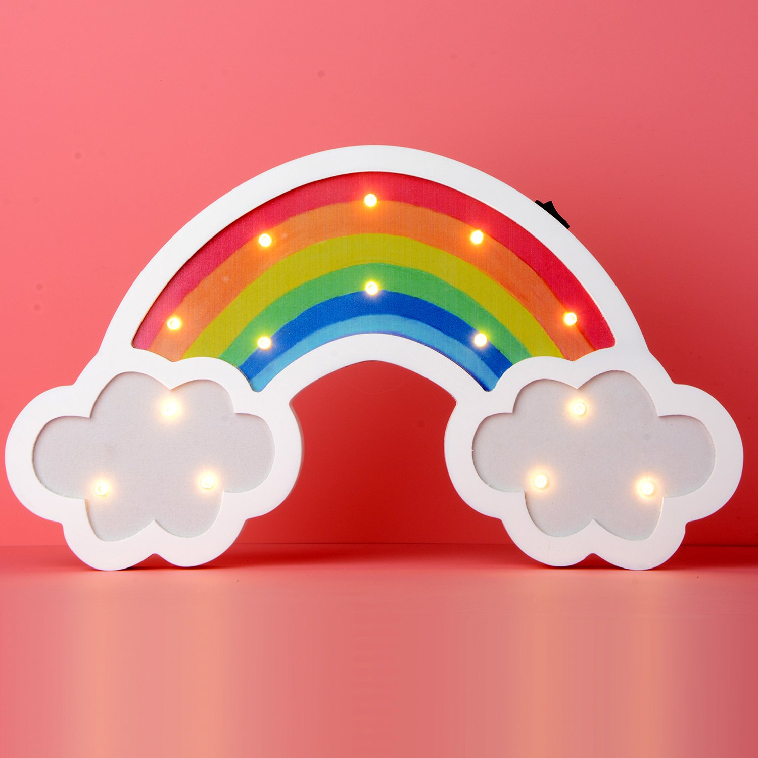 Rainbow Marquee Sign Led Night Light Takefuns Battery Operated Wall Light Decorative Bedsides Lamp for Girls Boys Christmas Home Decor(Rainbow)