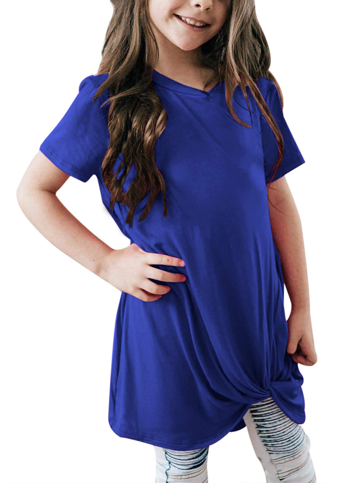 Bulawoo Girls Clothing Casual Short Sleeve Summer Tops Little Girls Knot Front Fashion Tee Shirts Size 4-13 8-9 Years Blue