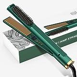Hair Straightener Flat Iron, Hair Straightening Iron with Built-in Comb, 3in 1 Tourmaline Ceramic Flat Iron,12 Gears Temperat
