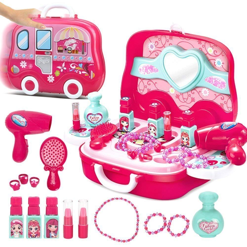 MQfit Makeup Toy Set for Kids Girls, Dress Up Suitcase Cosmetic Pretend  Play Beauty Kit (Pink)