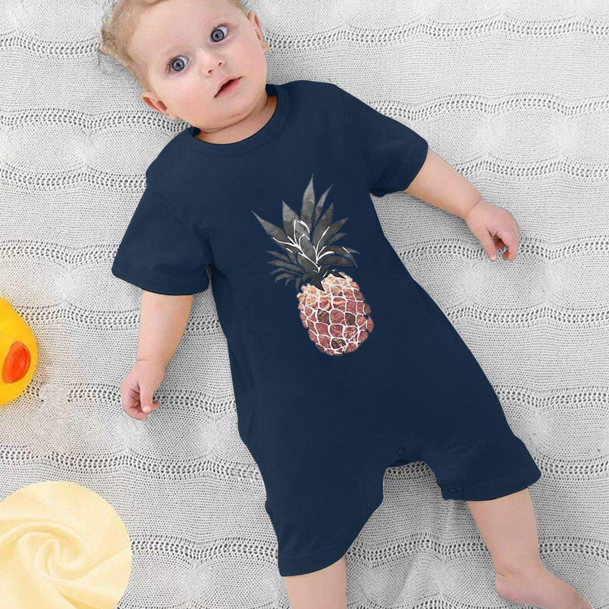 Simoner Baby Infant Boy Girl Short Sleeve Pineapple Jumpsuit Romper Pajamas Clothes Summer Outfits Black