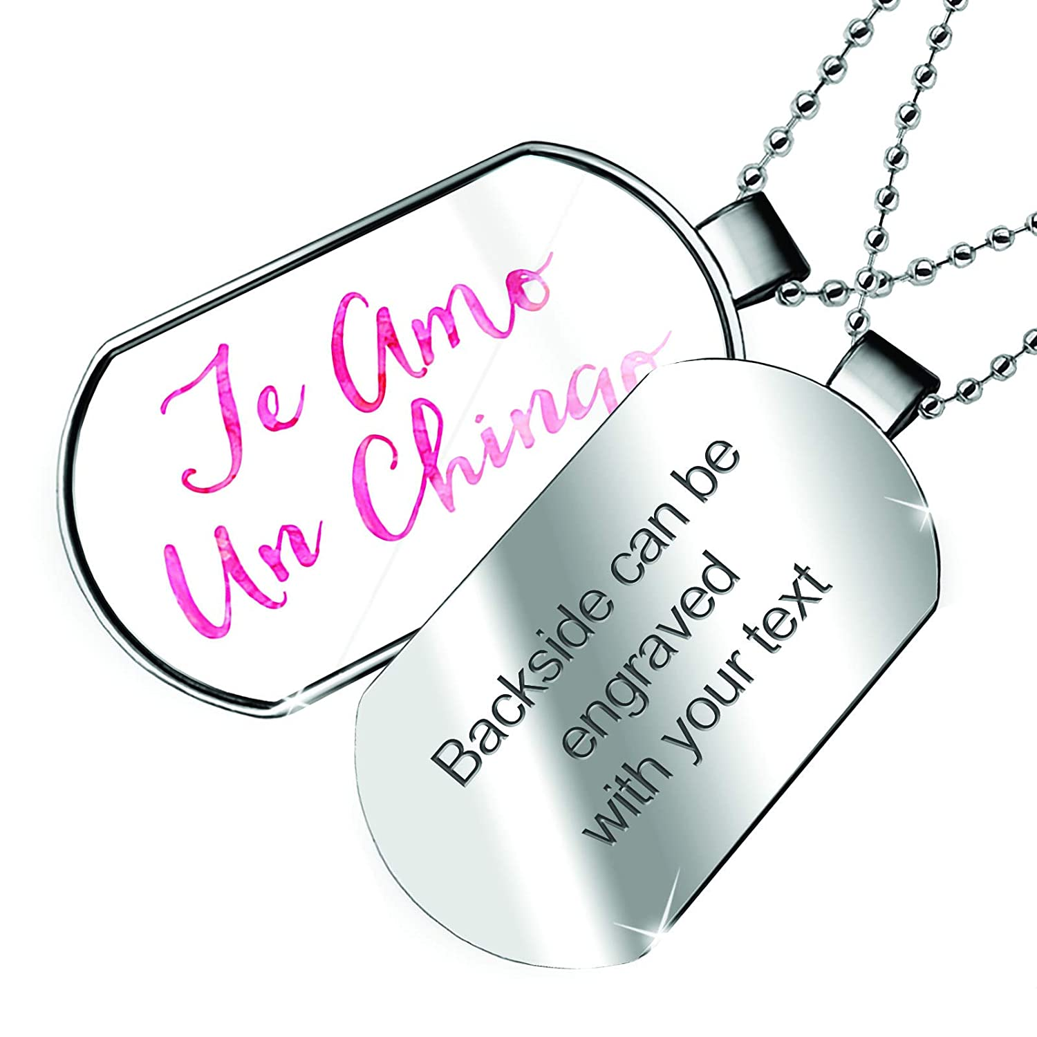 NEONBLOND Personalized Name Engraved Te Amo Un Chingo Valentines Day Pink Watercolor Dogtag Necklace