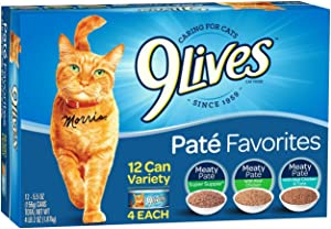 9Lives Paté Favorites Wet Cat Food Variety Pack, 5.5 Oz Cans, 12 Count