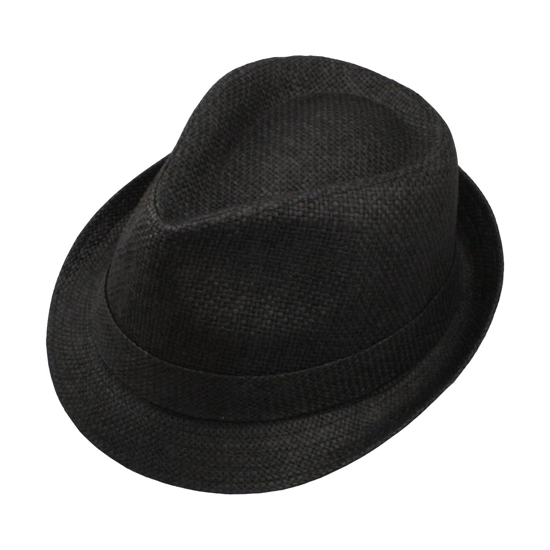 Amazon.com  Adorna Chic CHAPAU Luxury Women s Straw Fedora Hat Short Brim -  Black Size Medium  Sports   Outdoors e2481b48f8a