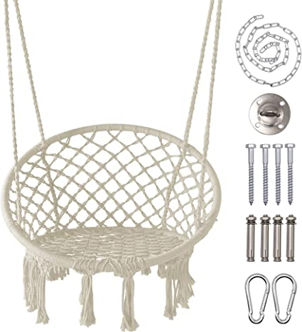 Adjustable Height Hammock Hanging Chair Chains Kit Chains Hooks Outdoor Rope
