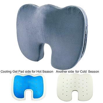 Almohada de gel y espuma con efecto memoria para asiento de Coccyx, cojín ortopédico, cojín cómodo ...