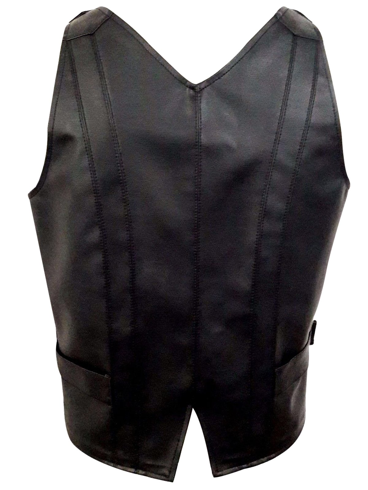 Mens Real Black Leather Heavy Duty Steampunk Gothic Style Vest Waistcoat 4